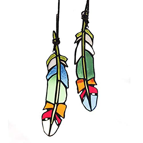 HAOSUM Stained Glass Window Hangings Set of 2 Stained Glass Feather Colored Glass Suncatchers Hanging Ornament for Wall, Window,Car and Party Decoration and Gift Idea