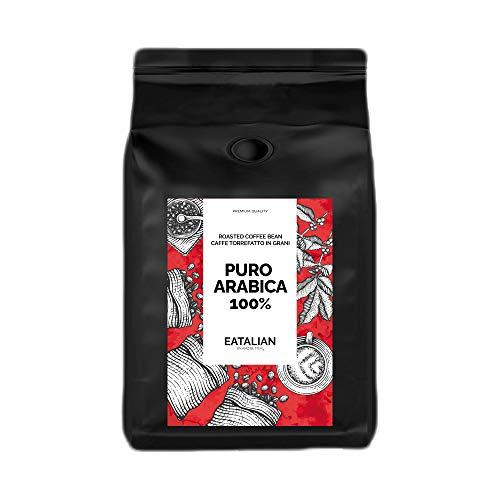 EATALIAN by AMZ BETTER Geröstete Kaffeebohnen 1 kg, 100{d52cdf5808ac1afb15dac5292b44c75bbd2559822eee49ed60a6706667e3b16a} Arabica Mischung, Vollgeschmackskaffee mit Schokolade und gerösteten Mandeln Nachgeschmack, Made in Italy (geröstet und verpackt in Italien)