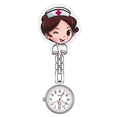 Yunnuopromi Orologio analogico al quarzo con clip per infermiere, dottore, orologio da tasca luminoso, 6 #