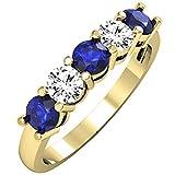 Dazzlingrock Collection Round Blue Sapphire and White Diamond Ladies Alternate 5 Stone Anniversary Wedding Band, 10K Yellow Gold, Size 7