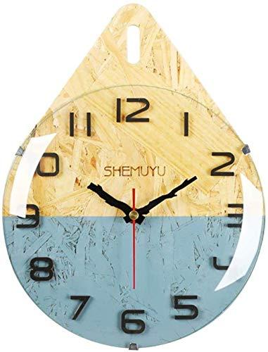 Reloj de Pared Reloj de Pared Creativo Moda Gota de Agua Estilo nórdico Arte Madera Moderno Cuarzo silencioso Colorido Decorativo Cocina Sala de Estar