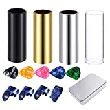 Set of4 Medium Guitar Slides (Include 3 Colors Stainless Steel, 1 Pieces Glass), 5 Pieces Guitar Picks (Ramdon Color) and 4 Pieces Plastic Thumb & Finger Picks in Metal Box