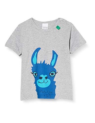 Fred'S World By Green Cotton Lama S/s Front T T-Shirt, Gris (Pale Grey Marl 207670000), 95 (Taille Fabricant: 80) Bébé garçon