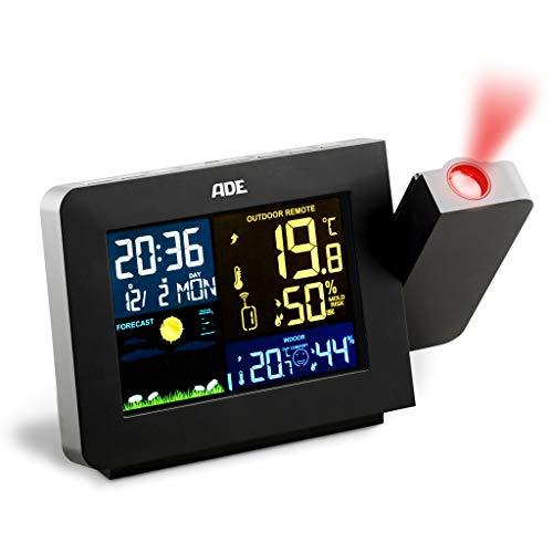 ADE Wetterstation WS1911 mit Projektion und Funk-Außensensor, Digitales Display, Black