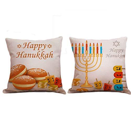 Seihoo Hanukkah Pillow Case for Couch Pillows - 2 Packs Hanukkah Throw Pillow Cases for Hanukkah Decoration (Bright-P1)