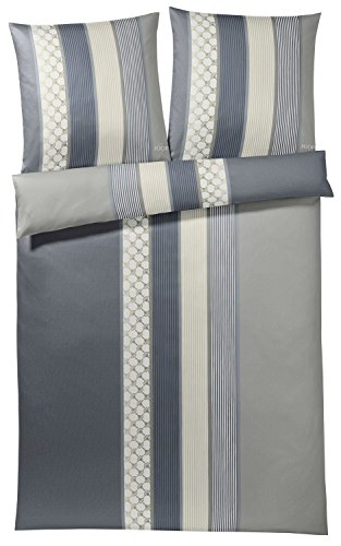Joop! Mako Satin Bettwäsche, Cornflower Stripe, 4069-09-135x200 80x80 cm, deep Coal,