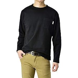 (FIRST DOWN) ファーストダウン ロンT メンズ Tシャツ 長袖 カットソー 胸ポケット 無地 トップス 正規品 / A8E / M 06・ブラック・black