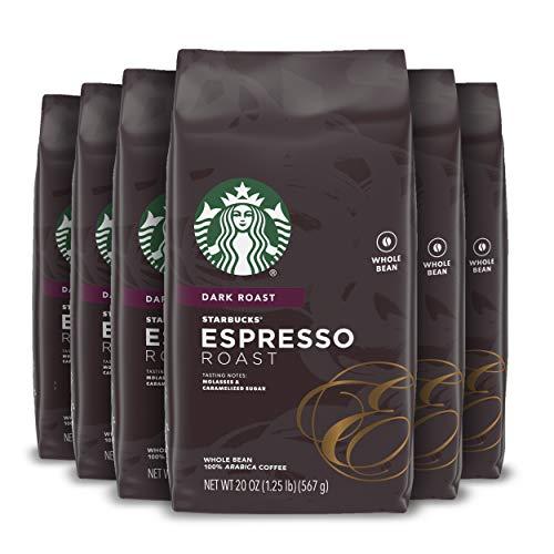 Starbucks Dark Roast Whole Bean Coffee — Espresso Roast — 100% Arabica — 6 bags (20 oz. each)