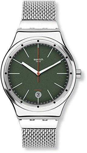 Swatch Herren Digital Automatik Uhr mit Edelstahl Armband YIS407GA