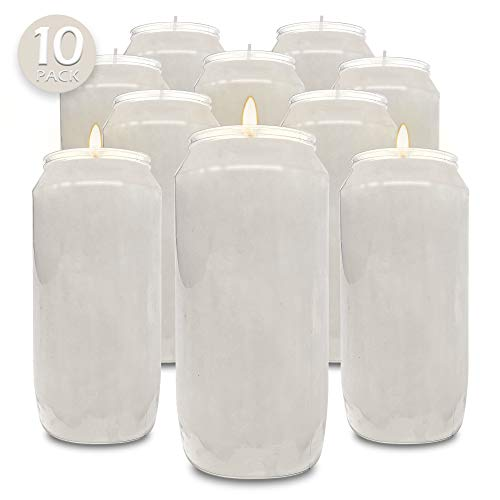 Hyoola 7 Day White Prayer Candles, 10 Pack - 6' Tall Pillar Candles for Religious, Memorial, Party Decor, Vigil and Emergency Use - Vegetable Oil Wax in Plastic Jar Container