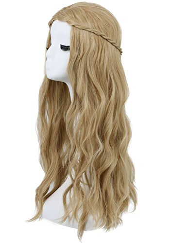 Karlery Women's Long Curly Braided Light Brown Wig Halloween Cosplay Wig Anime Costume Party Wig