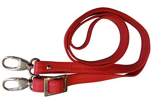 Josephine Osthoff Handtaschen-Manufaktur 2 cm Leder Schulterriemen - Rot/Silber - Trageriemen, Riemen Gurt Schultergurt Lederriemen