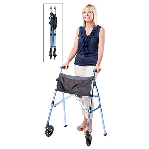 Stander EZ Fold-N-Go Walker, Lightweight Folding 2 Wheel Rolling Walker for Seniors with Swivel Wheels, Cobalt Blue