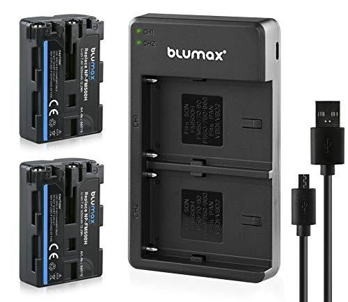 Blumax 2X Akku 1650mAh ersetzt Sony NP-FM500H + Slim Dual-Ladegerät USB kompatibel mit Sony Alpha 68 Alpha 58 Alpha 99II