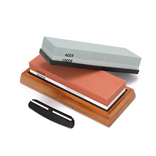Roeam Wetzstein 400/1000 3000/8000 Körnung, Premium-Schleifstein Idealer Schärfer für Küche Messer, Rutschfester Sockelschneider