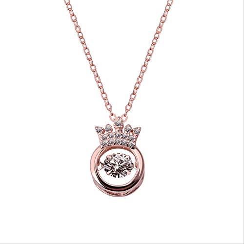 Collar Crystal Crown Colgante Joyas Moda Cobre con Incrustaciones Zircon Smart Beat Heart Girl
