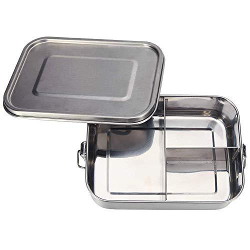 Merysen 1400ml Scatola Bento Box in Acciaio Inossidabile, Lunchbox per Bambini e Adulti, Contenitore per Il Pranzo con Tre Scompartimenti e Chiusura a