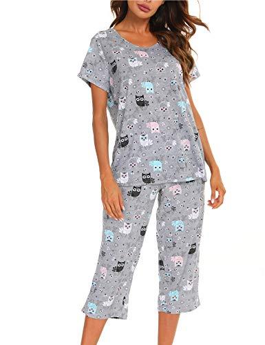 ENJOYNIGHT Conjunto de pijama corto para mujer, de verano, de algodón, de manga corta y pantalones pirata, Búho negro., L