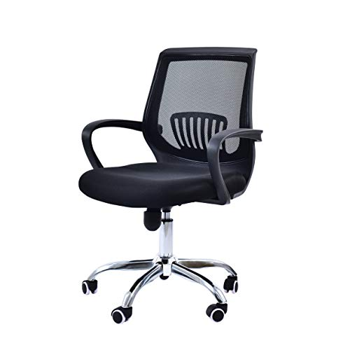 Hourseat Office Chair Ergonomic Cheap Desk Chair Mesh Computer Chair Lumbar Support Modern Executive Adjustable Stool Rolling Swivel Chair for Back Pain, Black (Black)