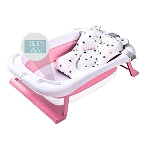 Bañera de bebé, plegable, con alarma inteligente de temperatura y almohada para...