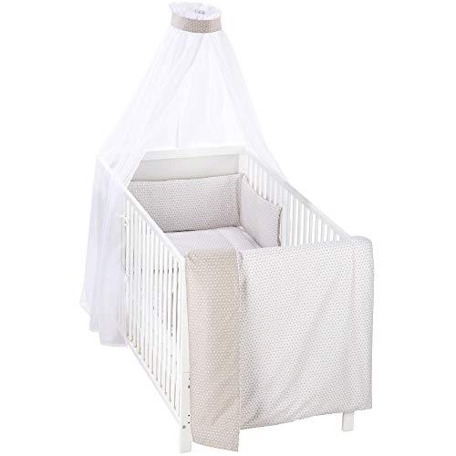 Alvi Bettset Himmelset für Kinderbett Raute taupe 100x135 cm 410149448