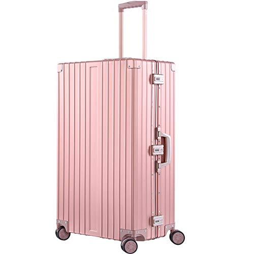 AHJSN 20'26' 29'Pulgadas Aluminio Magnesio Aleación Trolley Equipaje Hombres Negocios Full Metal Suitcase Mujeres Travel Case 20' Rose Gold