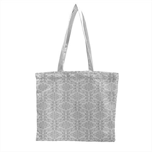 Canvas with zipper bag,Grey Victorian Antique Tile Pattern with Royal Curlicues Old Rich Scroll Regency Motifs,Tote Bags - Reusable Grey Pale Grey