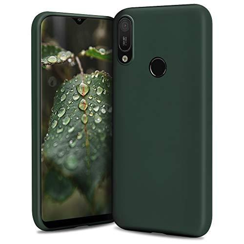 Moozy Lifestyle. Hülle für Huawei Y6 2019, Dunkelgrün - Silikon Handyhülle Schutzhülle mit Mattem Finish & Weichem Mikrofaserfutter