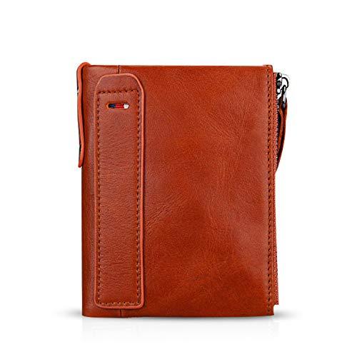 FANDARE Billetera con RFID Hombre Cartera para Mujer Estilo Plegable Monedero Billetera de Cuero con Bolsillo para Monedas y Crédito Tarjetas Ranuras para Identificación Tarjetas Crédito Naranja