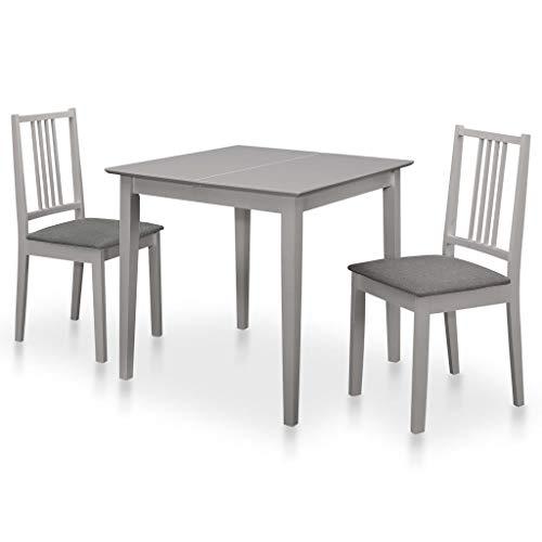 vidaXL Essgruppe 3-TLG. Tischgruppe Esstischset Esstisch Küchentisch Holztisch Tisch 2 Stühle Stuhl Sitzgruppe Esszimmergarnitur MDF Grau