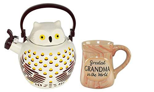 HOME-X Owl Whistling Tea Kettle & Greatest Grandma in the World Ceramic Novelty Mug