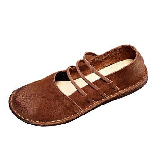 Mallimoda Damen Weinlese Handgemachte Lederschuhe Casual Slipper Low-top Schuhe Art 1-Braun EU 38=Asian 39