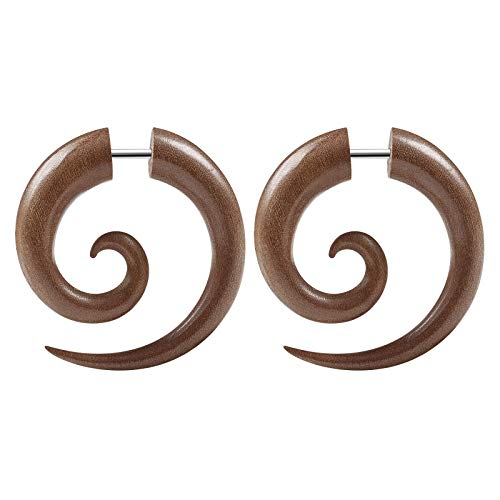 BIG GAUGES Pair of Sawo Wood 16g Gauge 1.2mm Steel Size 6mm Spiral Shaped Fake Piercing Jewelry Cheater Earring Lobe Ear Plugs BG5337