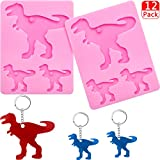 2 Pieces Dinosaur Silicone Mold Cute Dinosaur Keychains Pendant Mold Silicone Candy Cake Chocolate Fondant Mold with 10 Pieces Key Rings for DIY Keychain Decoration, Ice Cream, Pudding, Pink