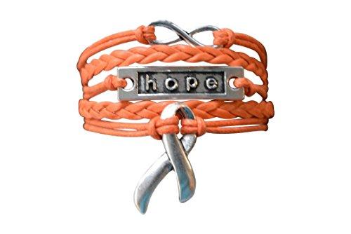 Infinity Collection Orange Ribbon Bracelet, Leukemia Awareness, MS Awareness, Self Injury, Kidney Cancer, ADHD, Malnutrition Awareness, Awareness Jewelry