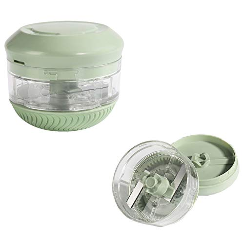 Mini Manual Food Chopper, Durable Hand Held Food Choppers and Dicers, Fits for Chopping Vegetables/Fruits/Onions/Garlics/Salad/Coleslaw/Puree (Green)