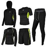 (シーヤ) Seeya コンプレッションウェア セット スポーツウェア メンズ 長袖 半袖 冬 上下 5点セット 6カラー トレーニング ランニング 吸汗 速乾 (L, 黒&緑(5点セット))