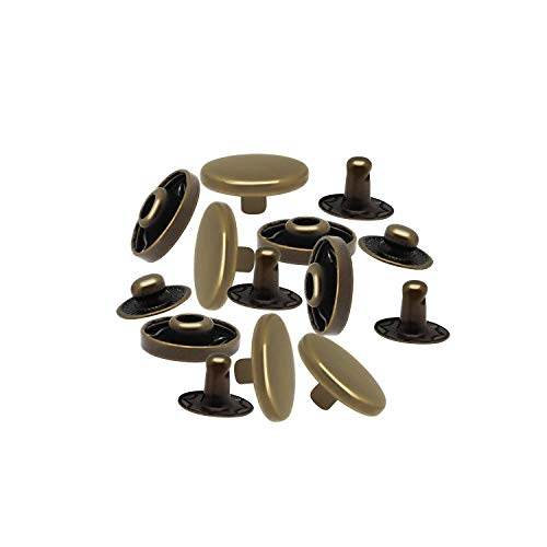 100 X 15Mm Bronze Set of Snap Fasteners for Clothing and Accessories - Press Studs for Adding Secure Closure to Jackets, Jeans and Other Sewing Projects - Popper for Clothes Repair
