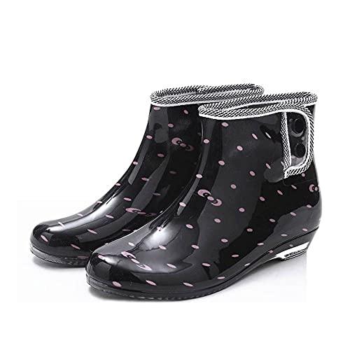 Botas De Agua Mujer - Mujeres Duantong Martin Botas Femeninas Botas De Lluvia De Goma Zapatos De Agua Deslizar Impermeable Tobillo Botas De Lluvia Para El Jardín, Calzado Al Aire Libre, Negro,8
