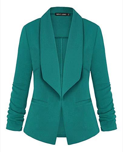 Unifizz Women 3/4 Sleeve Blazer Open Front Cardigan Jacket Work Office Blazer - Teal Green, Size XL