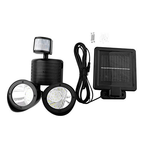 iFCOW Sensor Lamp, 22 LED Dual Head Solar aangedreven Outdoor Wandlamp PIR Motion Sensor Tuin Yard Security Light