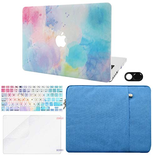"KECC Laptop Case Compatible with MacBook Air 13"" Retina (2021/2020, Touch ID) w/Keyboard Cover + Sleeve + Screen Protector + Webcam Cover Plastic Hard Shell Case A2337 M1 A2179 (Rainbow Mist 2)"