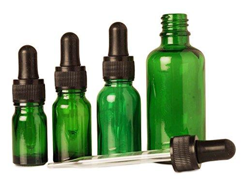 6 pcs bouteilles d'abandon de pipettes de sérum rechargeable gros vert œil de verre flacons compte-gouttes aromathérapie huiles essentielles 20 ml bouteilles vides