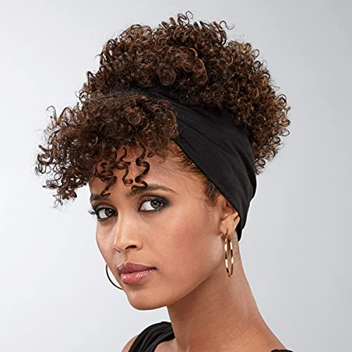Benji Headband Wig by Especially Yours – On-Trend Short Wig with Natural Spiral Curls, Removable Bangs / Runway Shades of Black and Brown