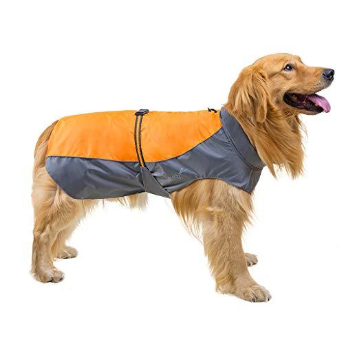 Yowablo Reflektierende wasserdichte Haustier-Mantel-Winter-Regenmantel-Hunde für kleinen mittleren großen Hund (XL,Gelb)