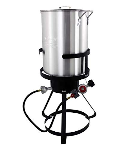Best Deals! 30 Qt Turkey Fryer Pack - Outdoor Aluminum Cooker Kit - Perfect Camping, Tailgating, Bac...
