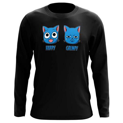 Okiwoki T-Shirt Manches Longues Noir Parodie Fairy Tail - Happy Vs Grumpy Cat - Happy Grumpy (T-Shirt de qualité Premium de Taille L - imprimé en France)