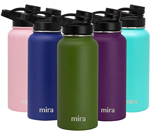 MIRA 32 oz Stainless Steel Insulated Sports Water Bottle   Metal Thermos Flask Keeps Cold for 24 Hours, Hot for 12 Hours   BPA-Free Spout Lid Cap   Olive Green