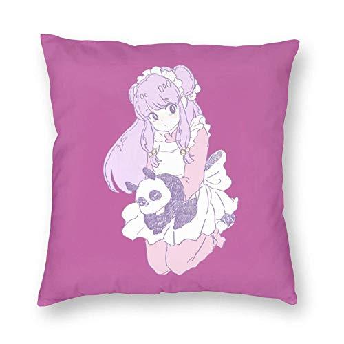 WH-CLA Pillow Cover Cute Shampoo Ranma Throw Pillow Case Ropa De Cama Decoración para El Hogar Cremallera Cuadrado Sofá Oficina 45X45Cm Fundas De Almohada Anime Durable Coche
