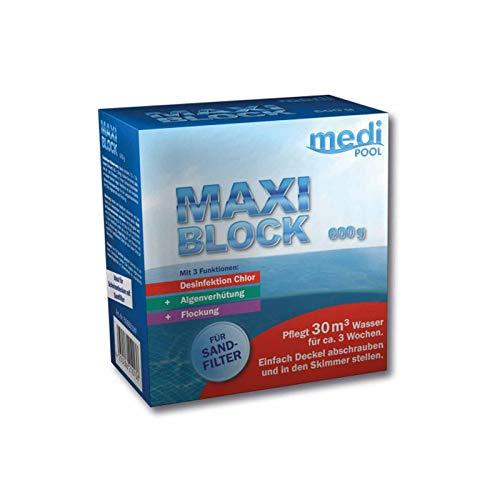mediPOOL MaxiBlock 600 g Multifunktionsblock, Chlorblock, Poolreinigung, Langzeitdesinfektion f. Pools